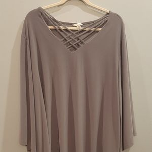 Gray Blouse with Bell Sleeves *Never Worn*